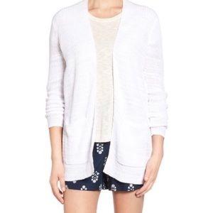 Madewell white postscript linen blend cardigan